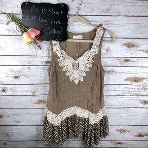 Areve crochet tulle boho textured sleeveless top